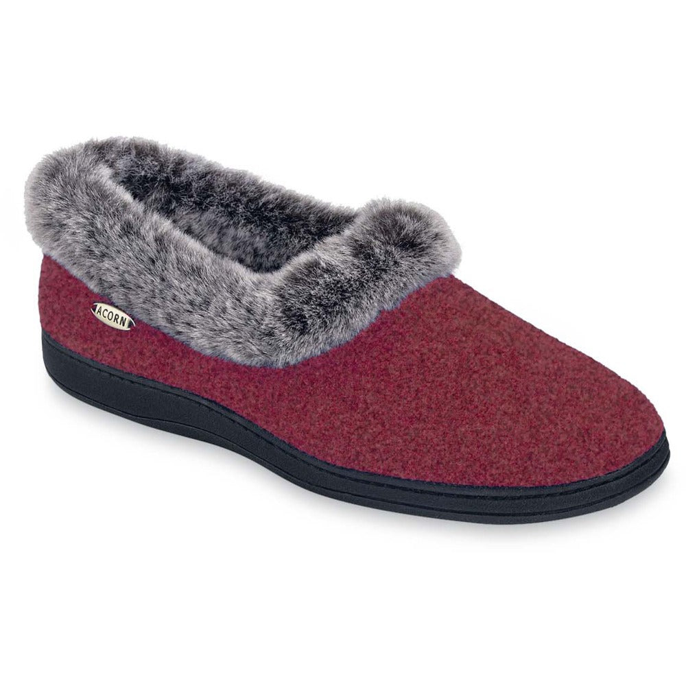Women's Faux Fur Collar Slippers in Crackleberry Right Angle View