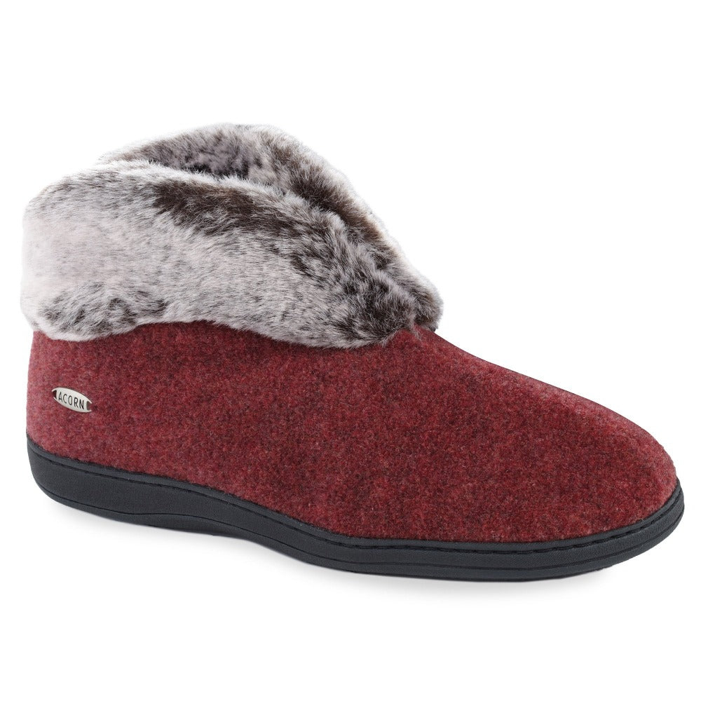 Acorn Women's Faux Fur Chinchilla Bootie in Burgundy Angle View