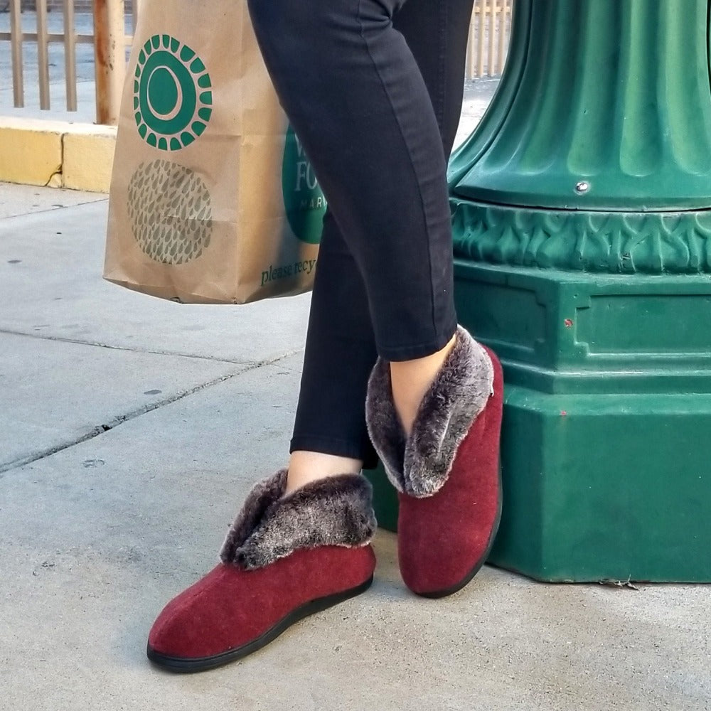Women's Faux Fur Chinchilla Booties on figure standing outside leaning against light post in the city