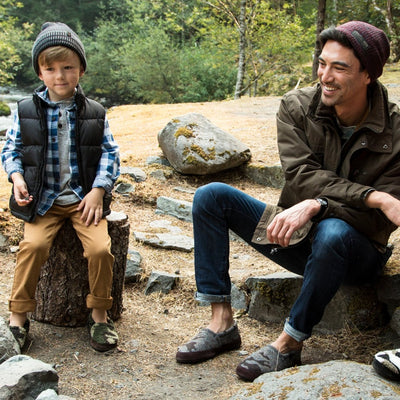 Men's Original Acorn Moccasins in Urban Camo On Model Around A Campfire