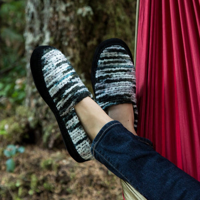 Women's Fleece Moc Slippers in Wooly Stripes on Model in Hammock
