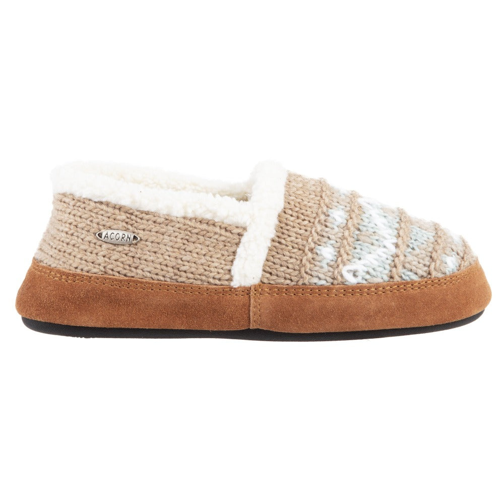Acorn Nordic Moccasin Slipper Oatmeal Heather Side View