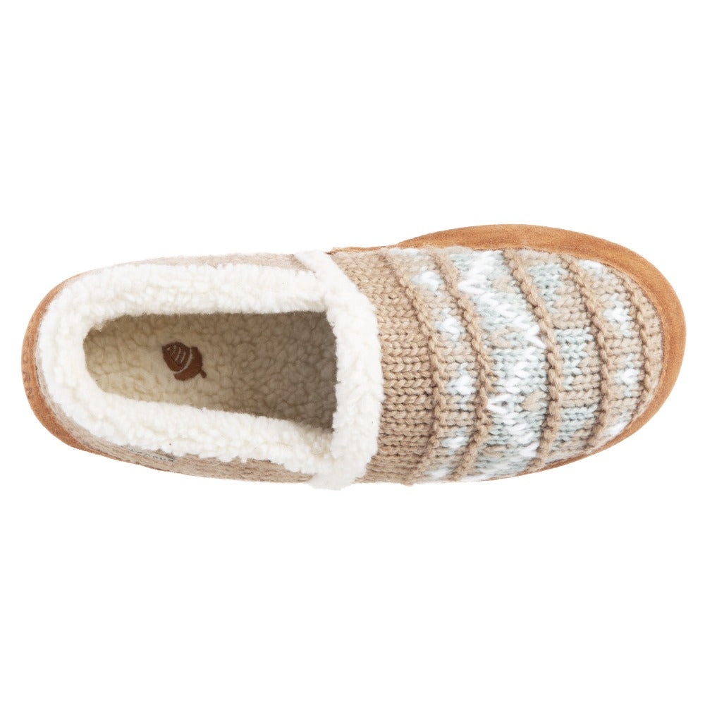 Acorn Nordic Moccasin Slipper Oatmeal Heather Top Down View