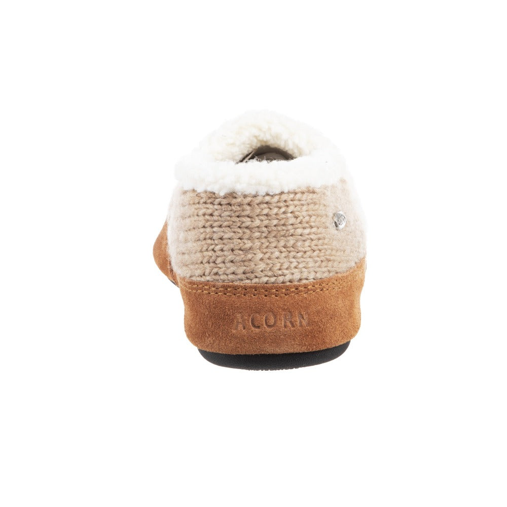 Acorn Nordic Moccasin Slipper Oatmeal Heather Back View