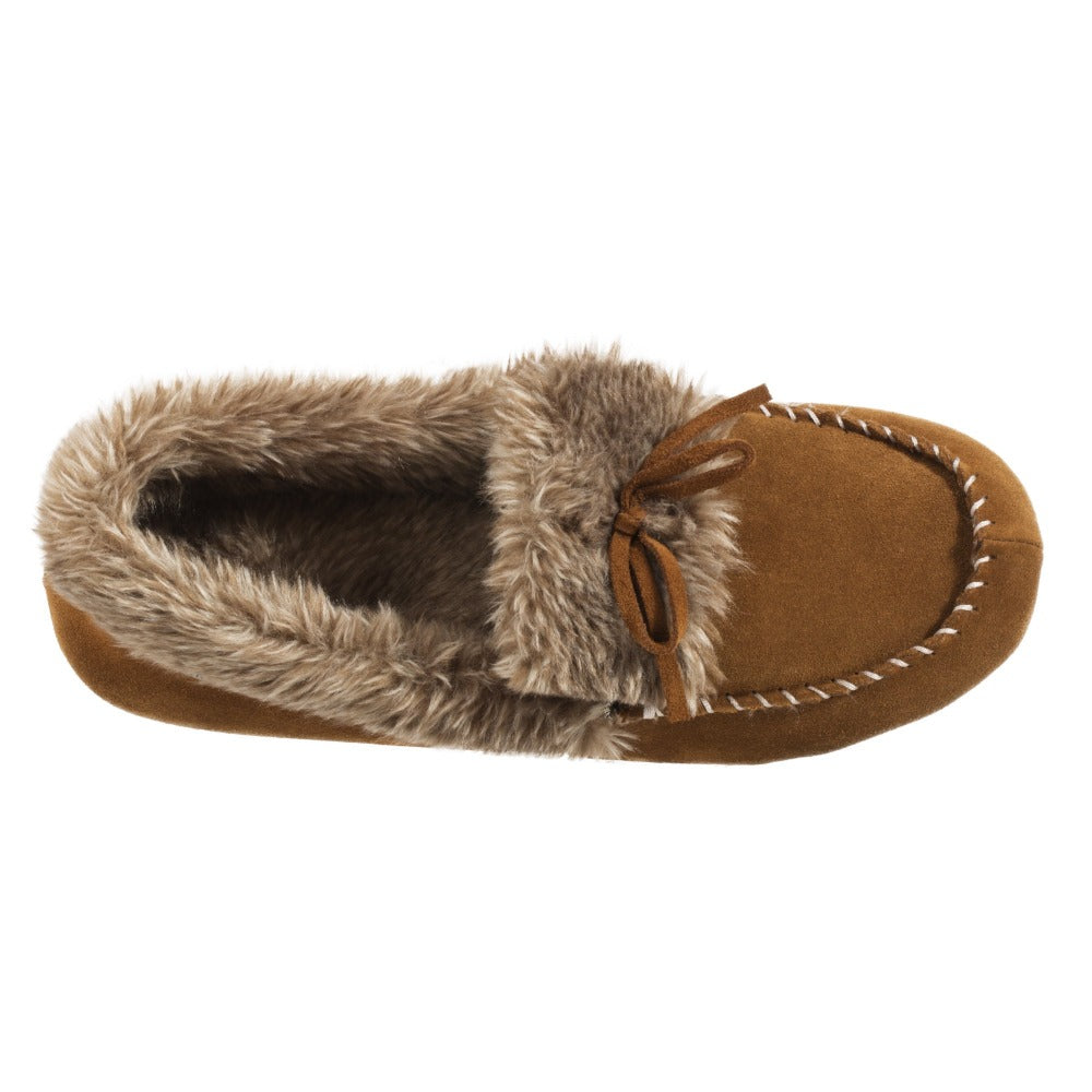 Acorn Womens Faux Fur Moccasin in Cognac Top Down View