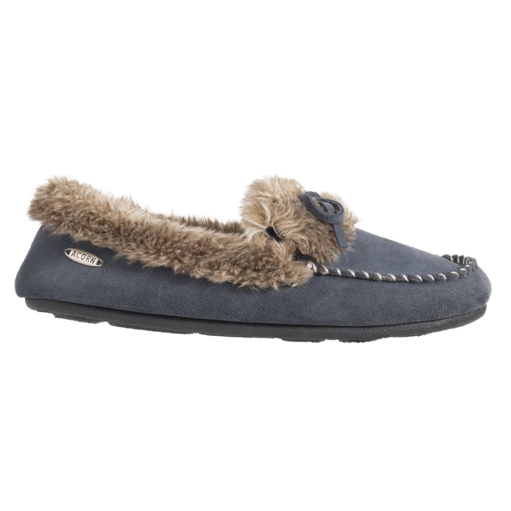 Acorn Fax Fur Moccasin Slipper Mineral Side Profile View