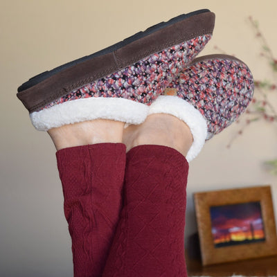 Women's Jam Mule Slippers on figure with legs up in the air crossed at ankles