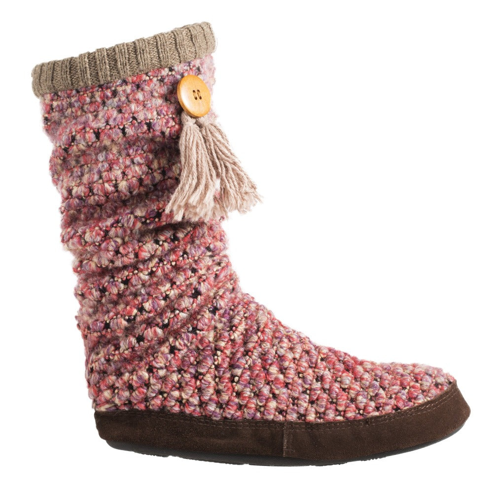 Acorn Jam Tassel Boot in Raspberry Side Profile