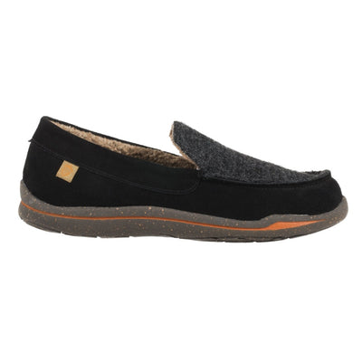Acorn Men's Ellsworth Moccasin Slipper in Black Side Profile View