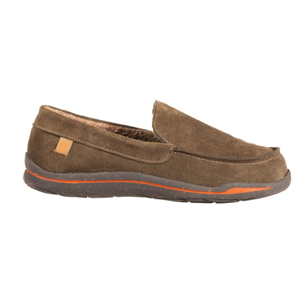 Acorn Men's Ellsworth Moccasin Slipper in Walnut Side Profile View