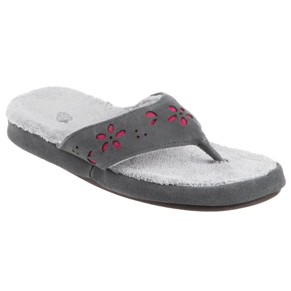 Acorn Women's Flora Suede Spa Thong Grey Angle View