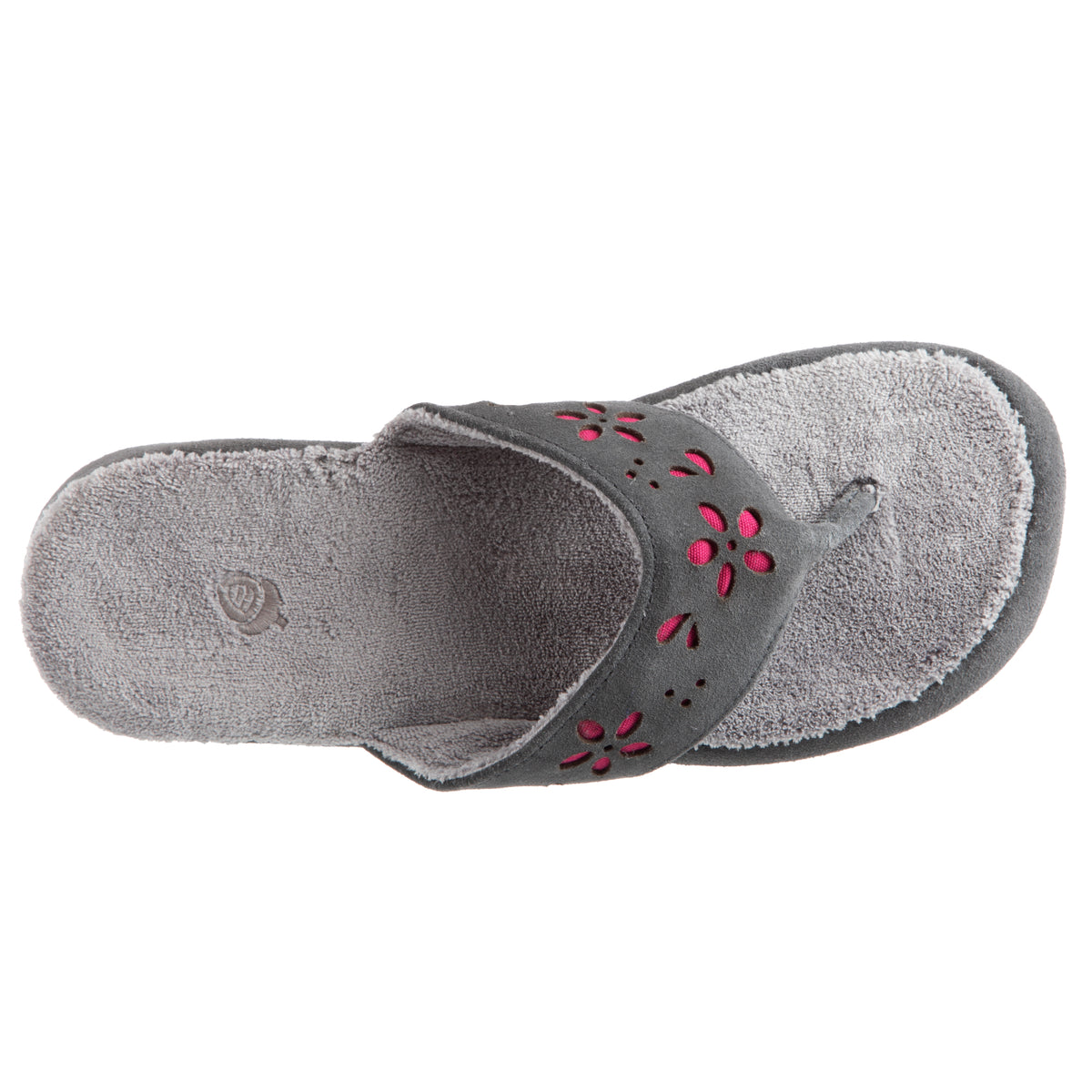 Acorn Women's Flora Suede Spa Thong Grey Top Down View
