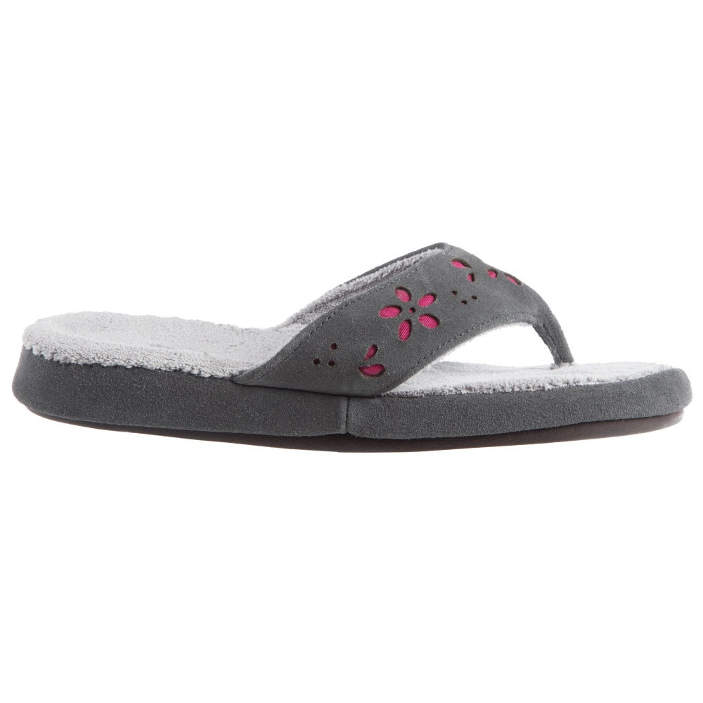 Acorn Women's Flora Suede Spa Thong Grey Side View