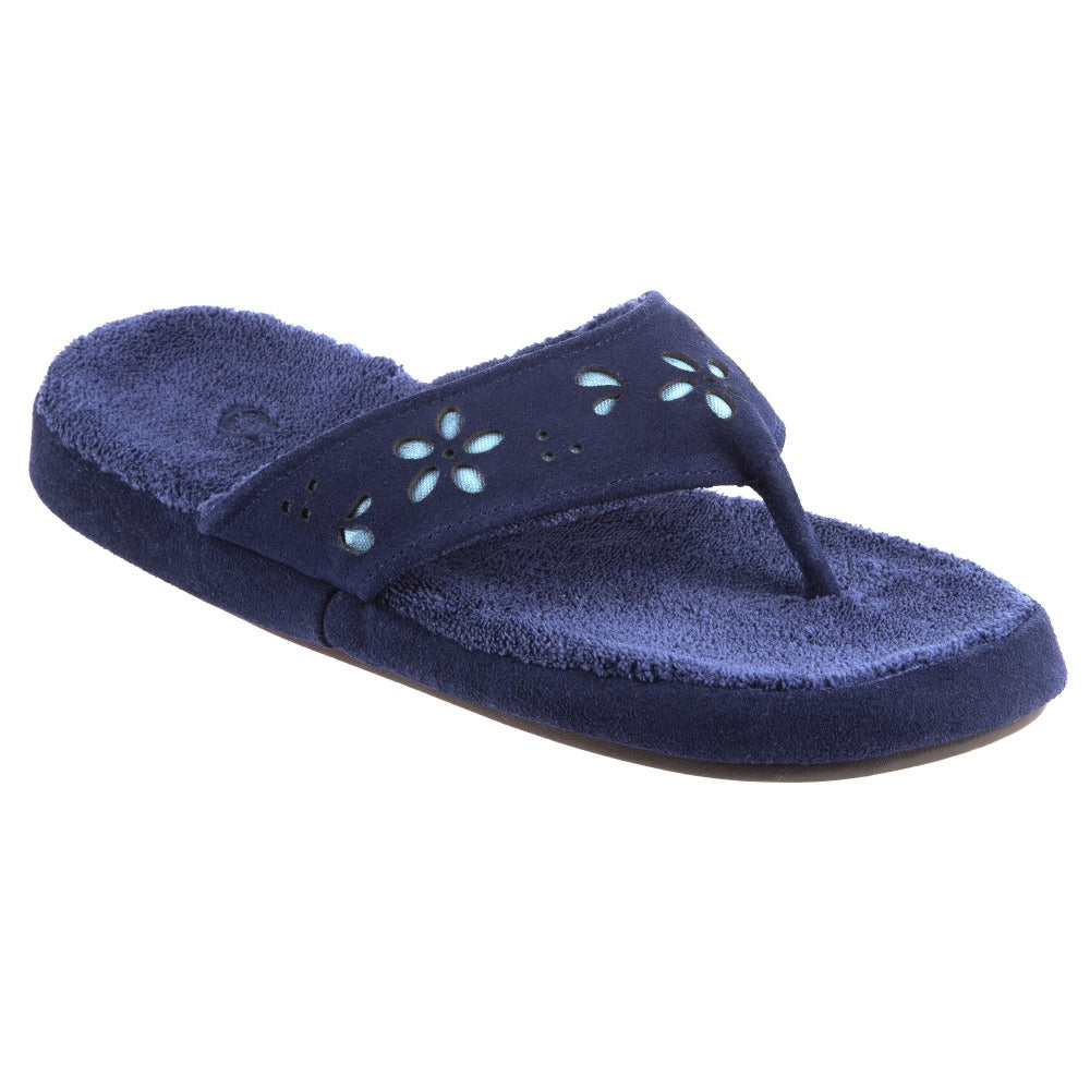 Acorn Women's Flora Suede Spa Thong Navy Angle View