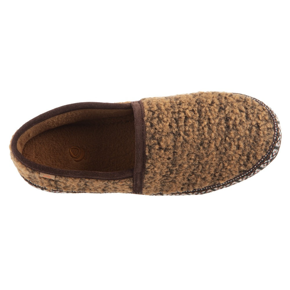Acorn Woven Trim Moccasin Slipper in Buckskin Top Down View