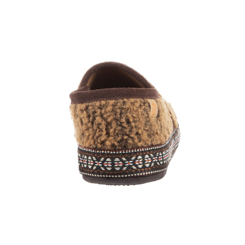 Acorn Moc Woven Trim Slipper in Brown Back View
