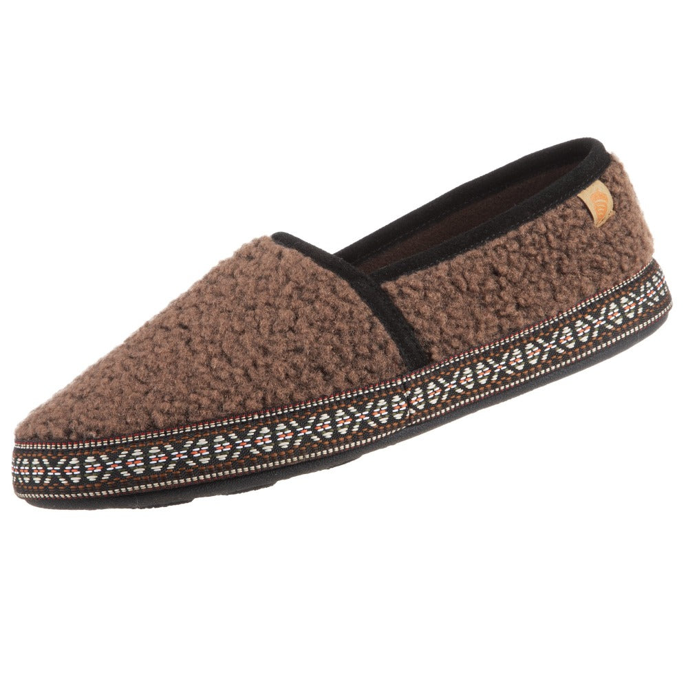 Acorn Men's Woven Trim Moccasin Slipper in Walnut Angle View