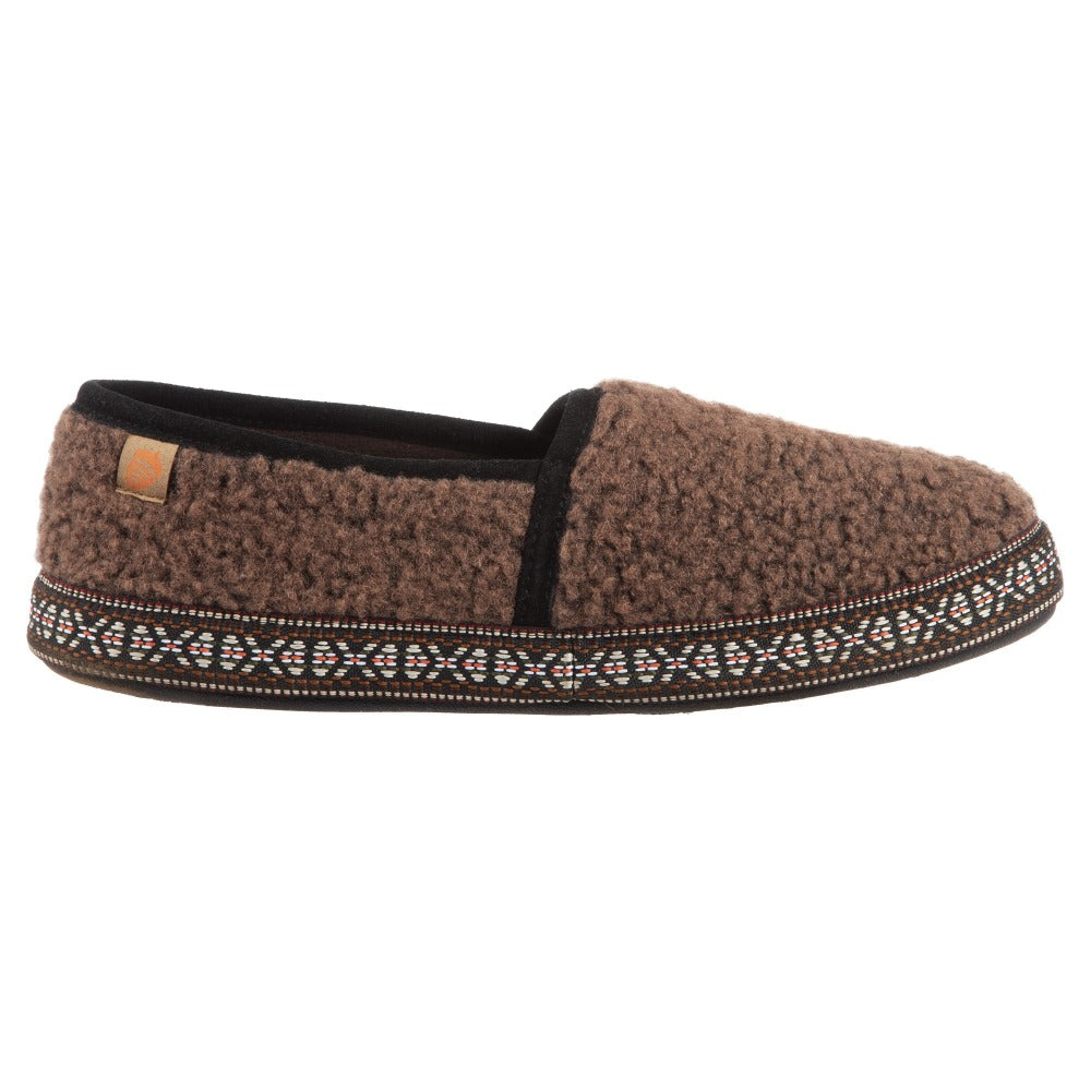 Acorn Men's Woven Trim Moccasin Slipper in Walnut Side View