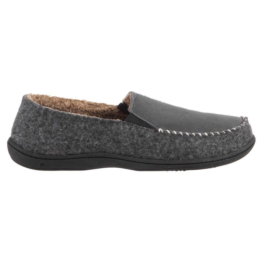 Acorn Men's Crafted Moc Slipper in Charcoal Profile View