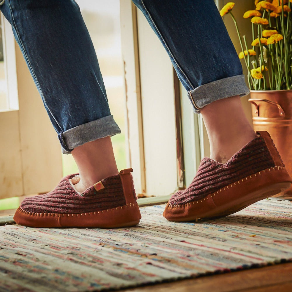 Women's Recycled Camden Moccasins in walnut on figure headed outdoors