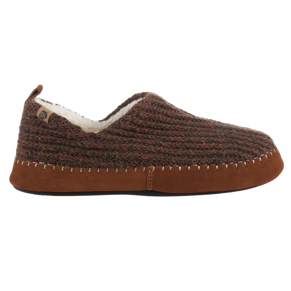 Acorn Men's Camden Recycled Yarn Slipper in Walnut Side Profile View