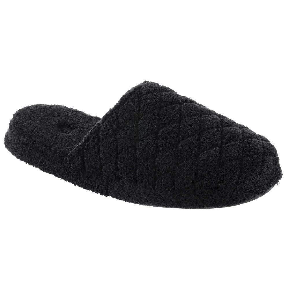Women's Spa Quilted Clog in Black Right Angled View