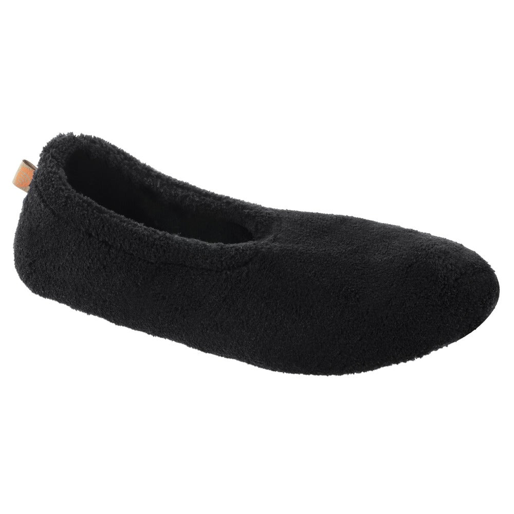 Women's Spa Travel Slipper in Black Right Angled View