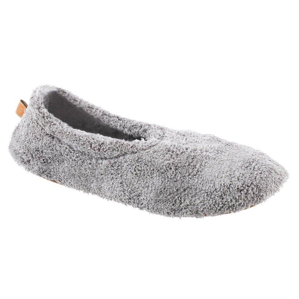 Women's Spa Travel Slipper in Grey Right Angled View