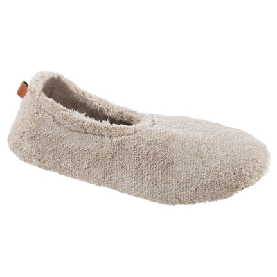 Women's Spa Travel Slipper in Taupe Right Angled View