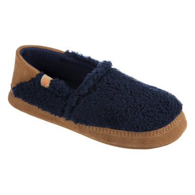 Women's Acorn Moc with Collapsible Heel Slipper in Navy Blue Right Angled View