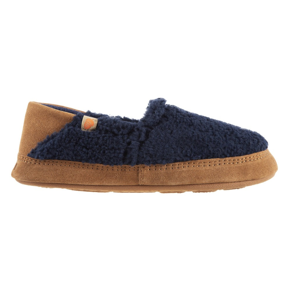 Women's Acorn Moc with Collapsible Heel Slipper in Navy Blue Profile