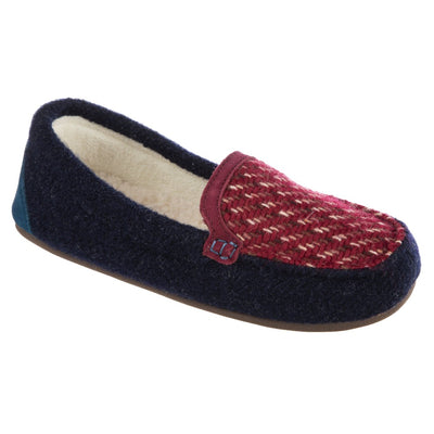 Women's Andover Driver Moc Slipper in Navy Blue Right Angled View