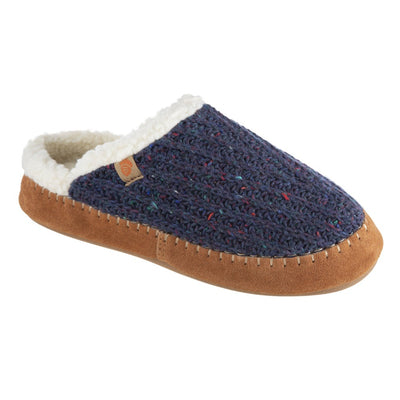 Women's Recycled Camden Clog in Navy Blue Right Angled View