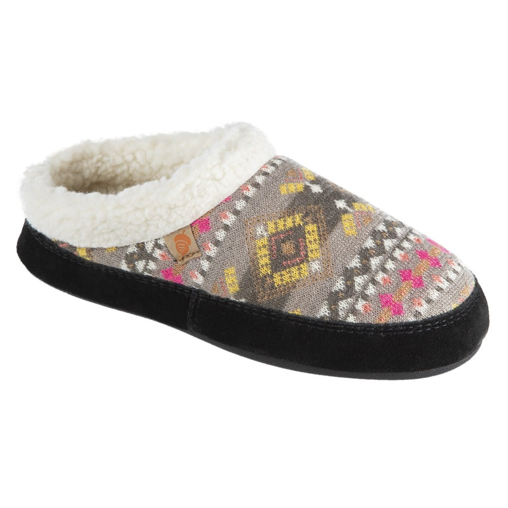 Women's Fairisles Hoodback Slipper in Black Multi with hues of grey, yellow and pink Right Angled View