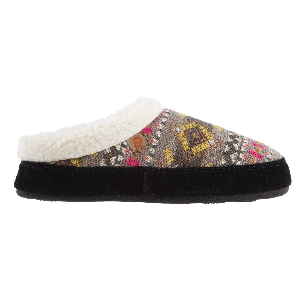 Women's Fairisles Hoodback Slipper in Black Multi with hues of grey, yellow and pink Profile