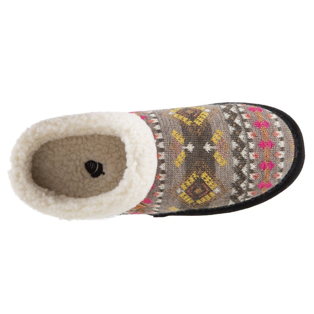 Women's Fairisles Hoodback Slipper in Black Multi with hues of grey, yellow and pink Inside Top View