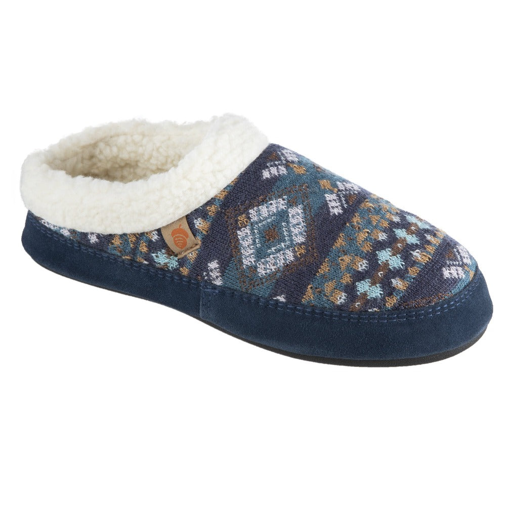 Women's Fairisles Hoodback Slipper in Blue Multi with different hues of blue and tan Right Angled View