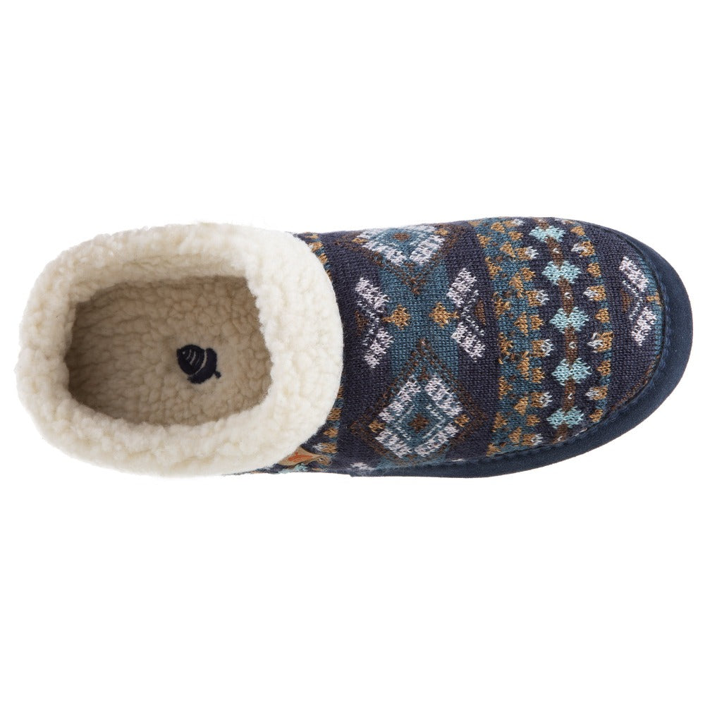 Women's Fairisles Hoodback Slipper in Blue Multi with different hues of blue and tan Inside Top View
