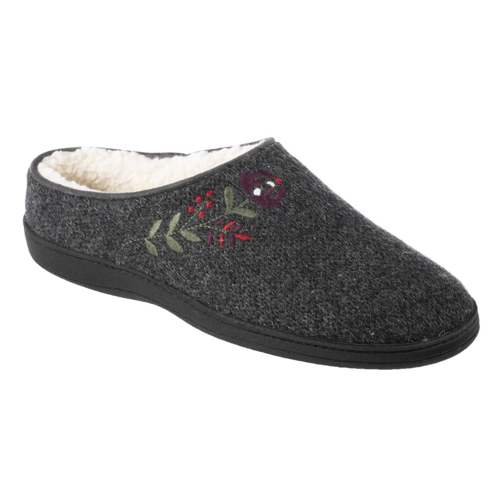 Women's Flora Hoodback Slipper in Charcoal Heathered Right Angled View