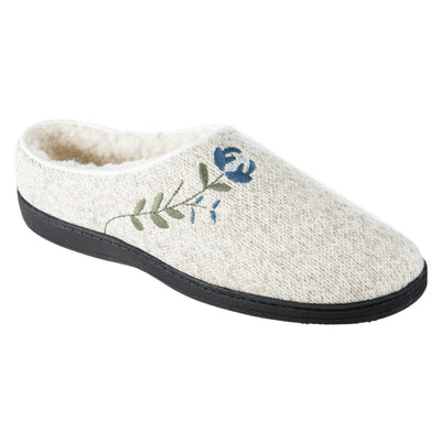 Women's Flora Hoodback Slipper in Oatmeal Heathered Right Angle View
