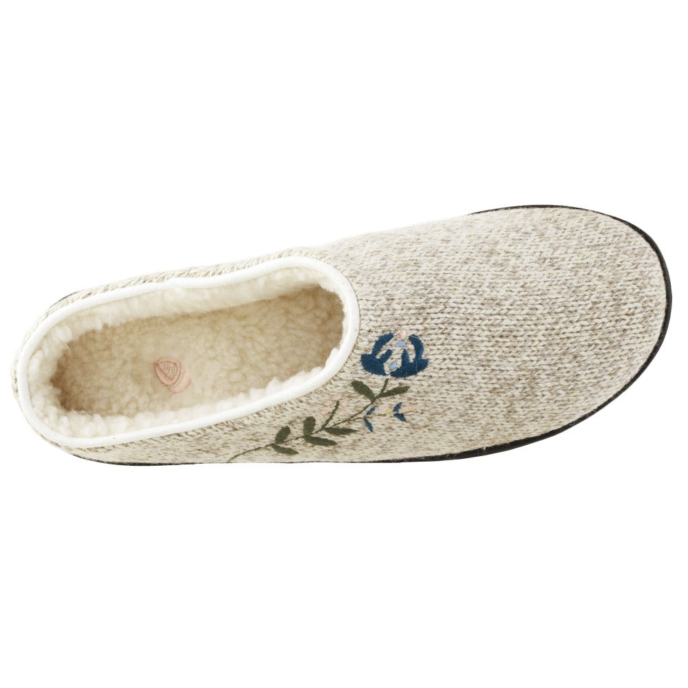 Women's Flora Hoodback Slipper in Oatmeal Heathered Inside Top View