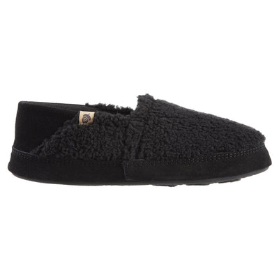 Men's Acorn Moc with Collapsible Heel Slipper in Black Berber Profile