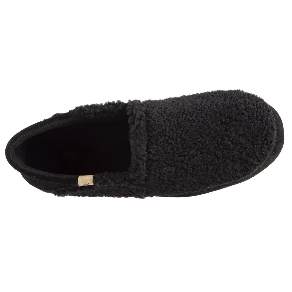 Men's Acorn Moc with Collapsible Heel Slipper in Black Berber Inside Top View