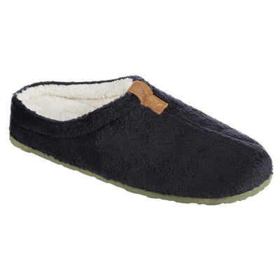 Women's Algae-Infused Spa Slippers in Black Right Angled View