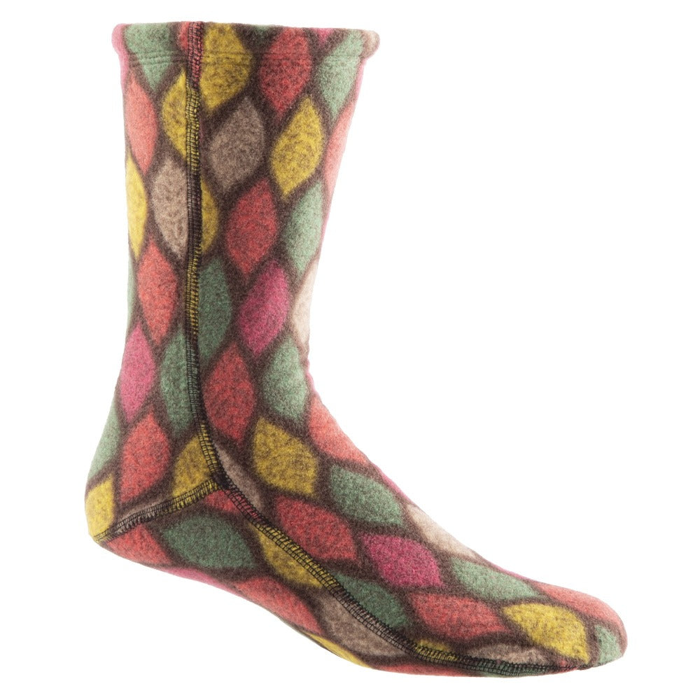 Acorn Versafit Fleece Socks in Brown Leaves Pattern
