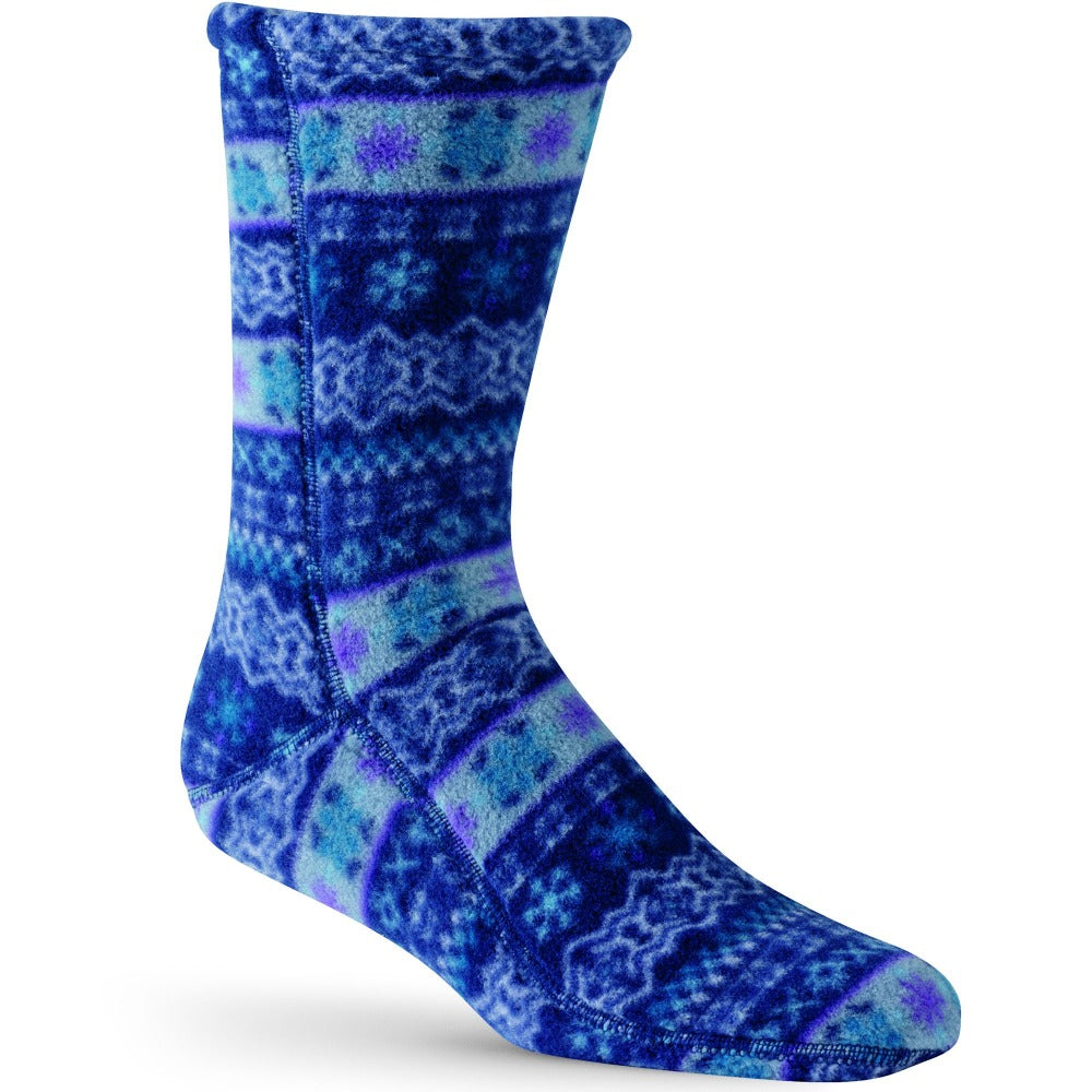 Versafit Fleece Cabin Socks in Black/Cream in Icelandic Blue