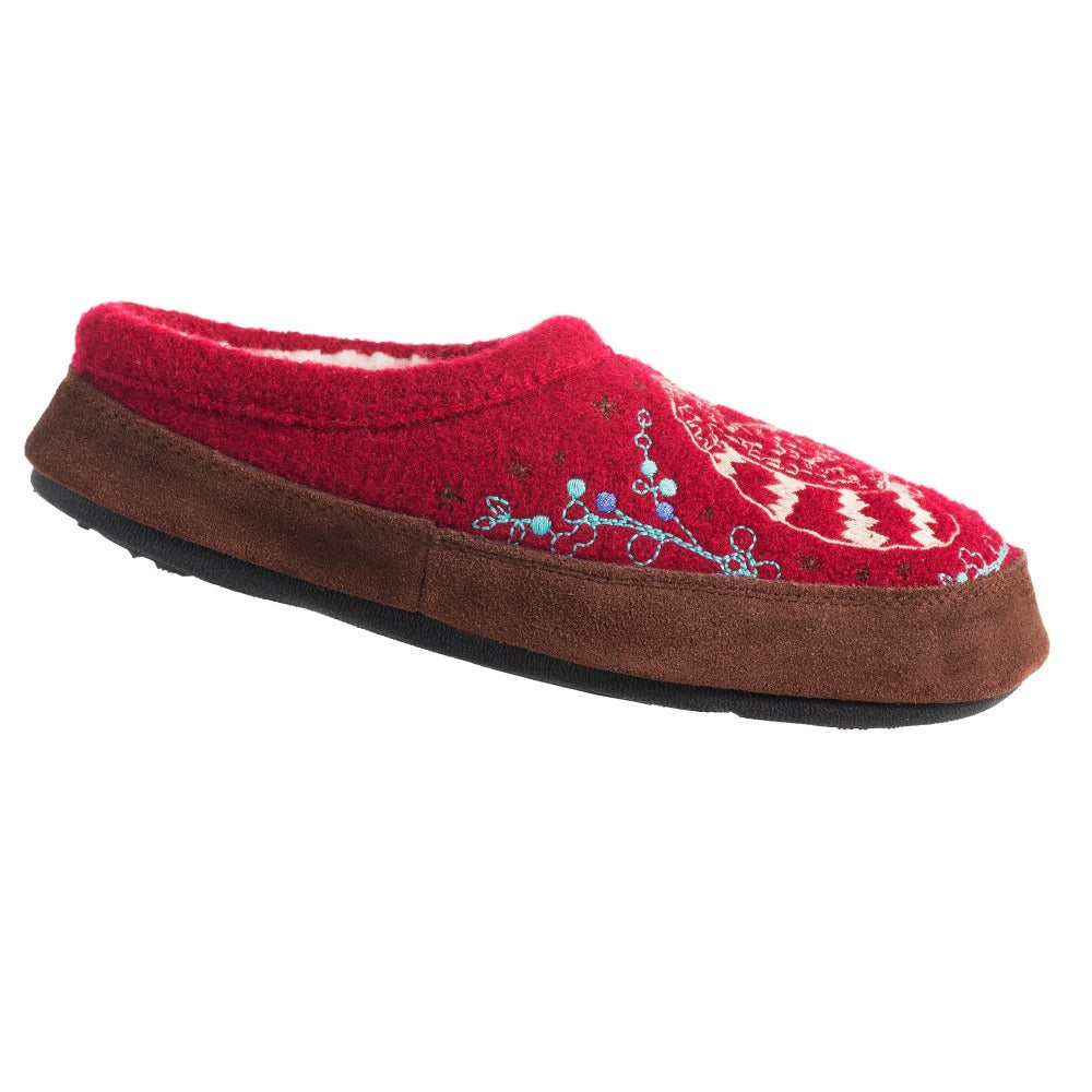 Women's Forest Mule Slippers in Red Raccoon Right Angled View