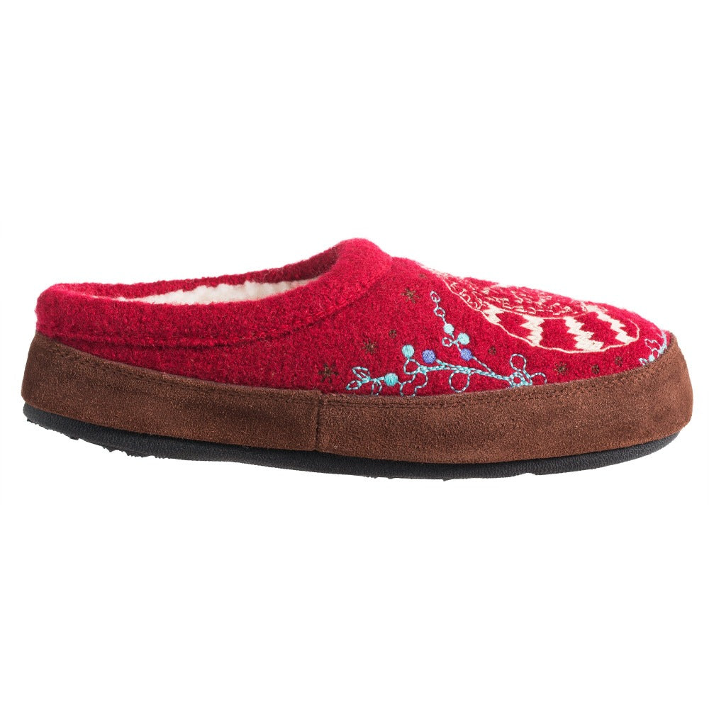 Women's Forest Mule Slippers in Red Raccoon Profile