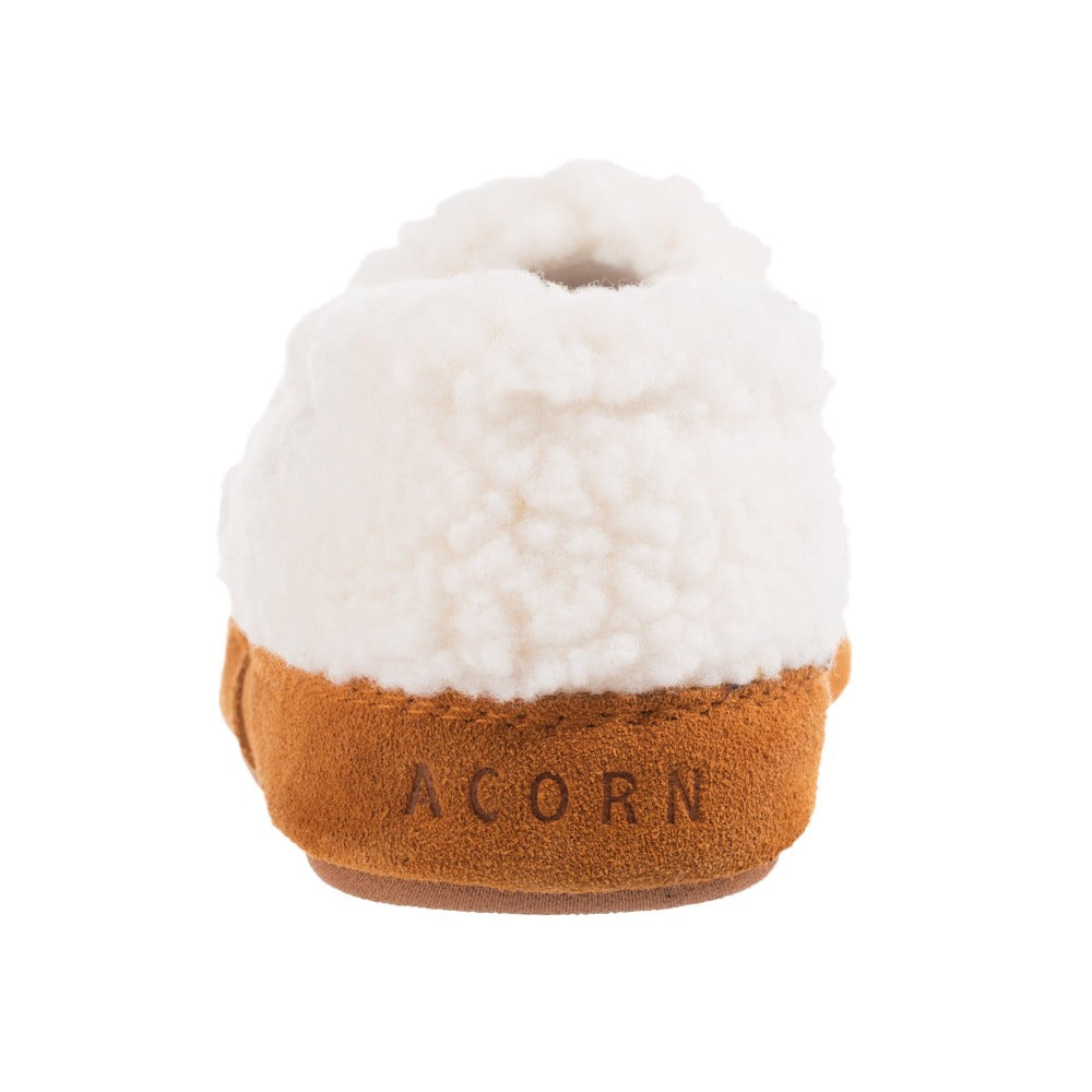 Kid's Original Acorn Moccasins in Buff Popcorn Back Heal