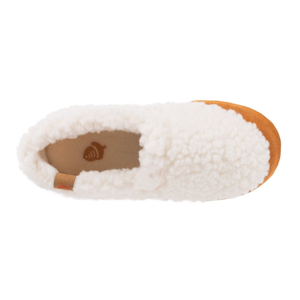 Kid's Original Acorn Moccasins in Buff Popcorn Inside Top View